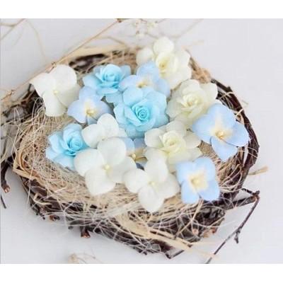 Набор цветов Гортензии и розы, голубой