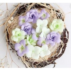 Набор цветов Гортензии и розы, сиреневый
