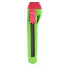 Канцелярский нож зеленый с автоблокировкой, 18 мм