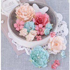 Набор цветов Пионы и розы, мятно-персиковые