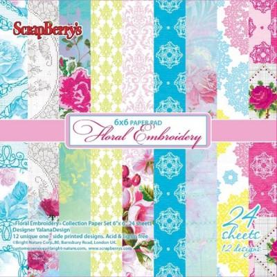 Набор бумаги Цветочная вышивка 15х15 см